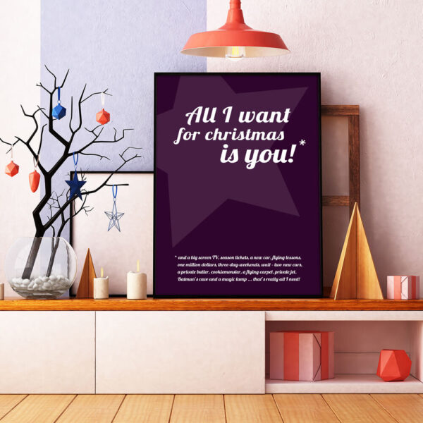 All I want for christmas is you* juleplakat